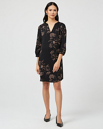 Floral Print V-Notch Long Sleeve Tunic Dress