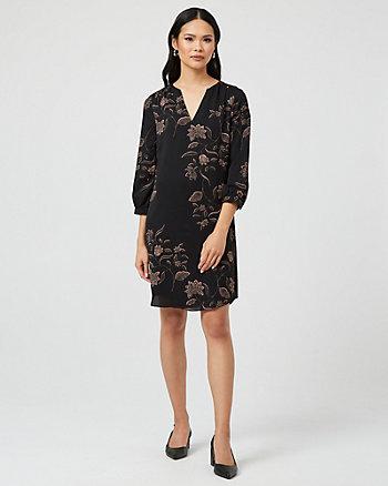88d71a5db5 Floral Print V-Notch Long Sleeve Tunic Dress