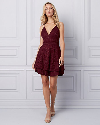 Sparkle Lace V-Neck Cocktail Dress