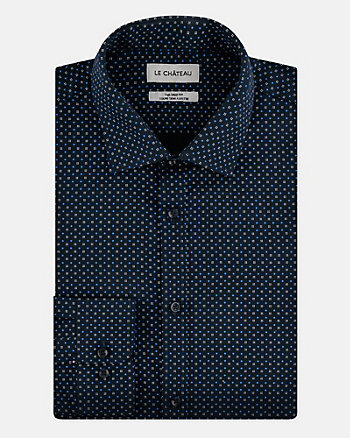 Geo Print Cotton Tailored Fit Shirt