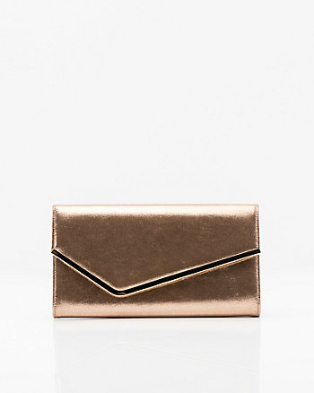 Suede-Like Asymmetrical Flapover Clutch