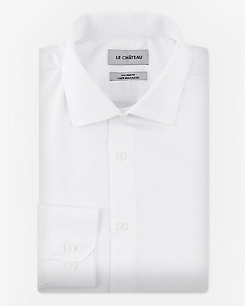 Dot Print Cotton Blend Tailored Fit Shirt