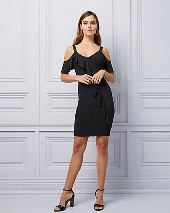 b569bf7478 Cold Shoulder Ruffle Cocktail Dress