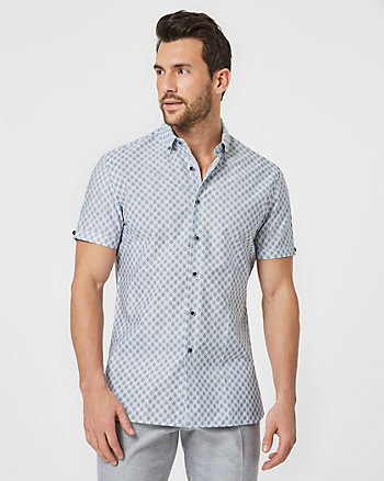 Geo Print Cotton Athletic Fit Short Sleeve Shirt