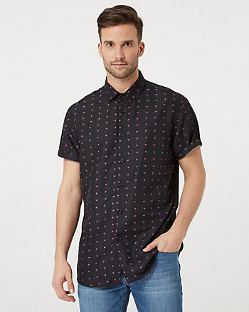Flamingo Print Tailored Fit Shirt