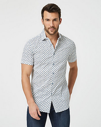 Pineapple Print Cotton Poplin Slim Shirt