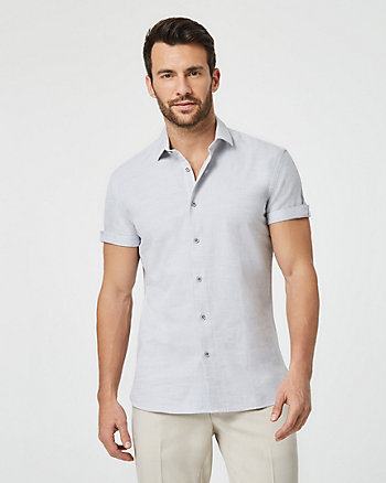 Tonal Cotton Tailored Short Sleeve Shirt