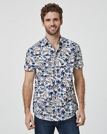 Floral Print Cotton Blend Regular Fit Shirt