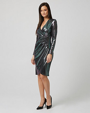 Foil Knit Wrap-like Cocktail Dress