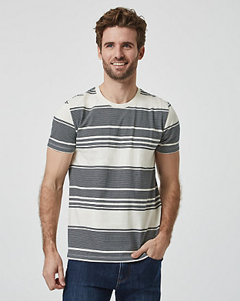 Stripe Cotton Crew Neck T-Shirt
