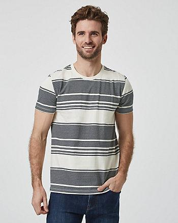 T-shirt rayé à encolure ras du cou en coton