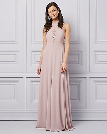 Embroidered Chiffon Halter Neck Gown