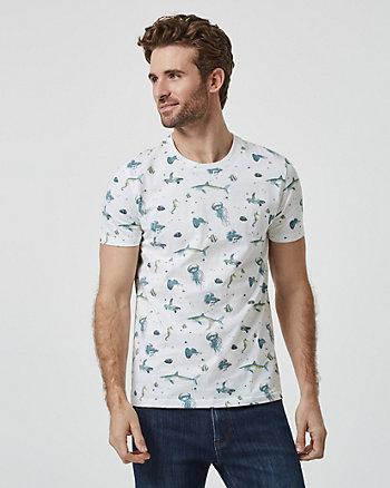T-shirt à motif de poissons en coton