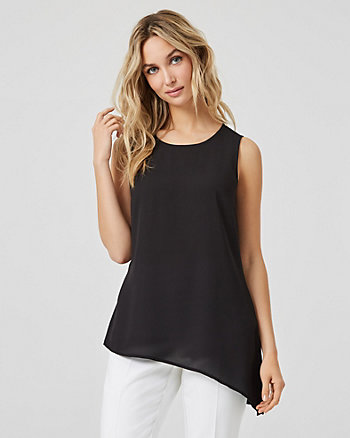 Asymmetric Crew Neck Sleeveless Top