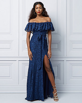 Lace Off-the-Shoulder Ruffle Gown