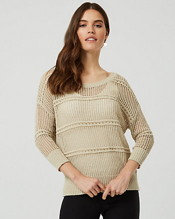 Open-Stitch Crew Neck Sweater