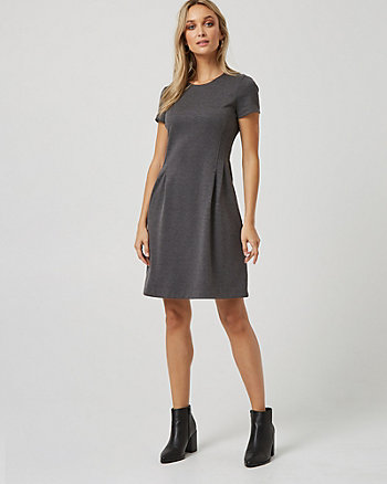 Ponte Pleated Fit & Flare Dress