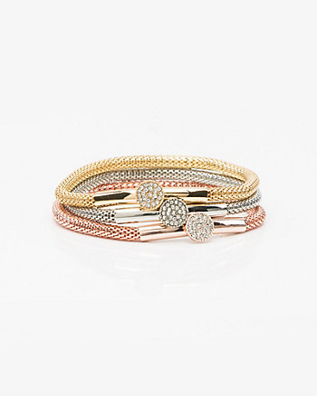 Set of Three Gem Stretch Bracelets