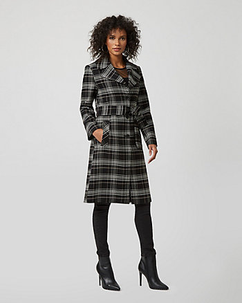 Check Print Belted Coat