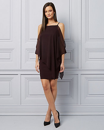 Sheer Cold Shoulder Cocktail Dress