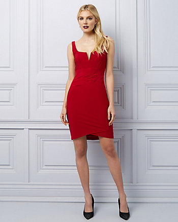 Knit V-Notch Body Con Dress