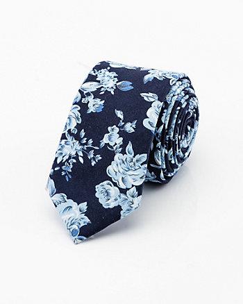 Cravate fleurie en mélange de lin