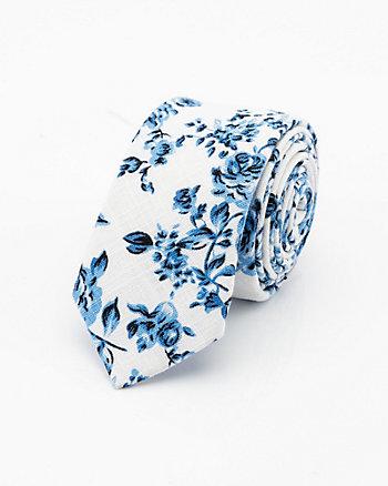 Floral Print Linen Blend Tie