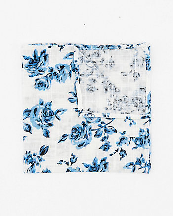 Floral Print Linen Blend Pocket Square