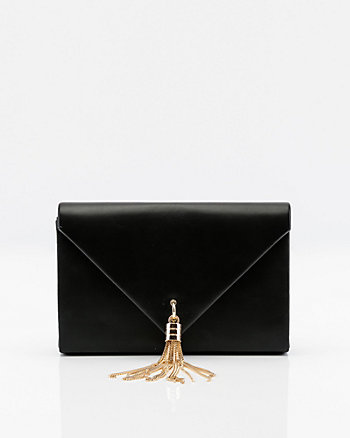 Leather-Like Envelope Tassel Clutch
