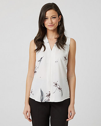 Floral Print Shiny Twill Built-Up Blouse