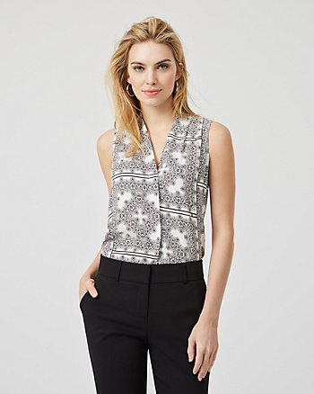 Ornamental Print Shiny Twill Sleeveless Blouse