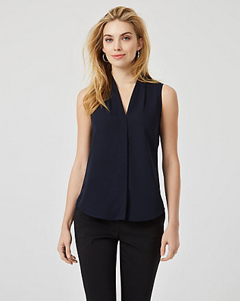Shiny Twill Sleeveless Blouse