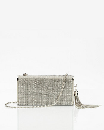 Jewel Embellished Tassel Clutch