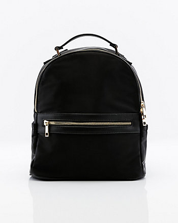 Nylon & Faux Leather Backpack