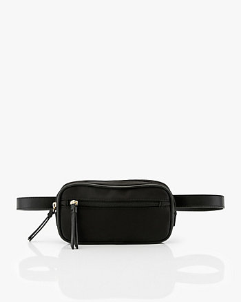 Nylon & Faux Leather Belt Bag