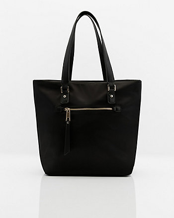 Nylon & Faux Leather Tote