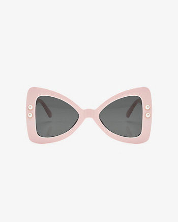 Pearl Embellished Bow-Shaped Sunglasses
