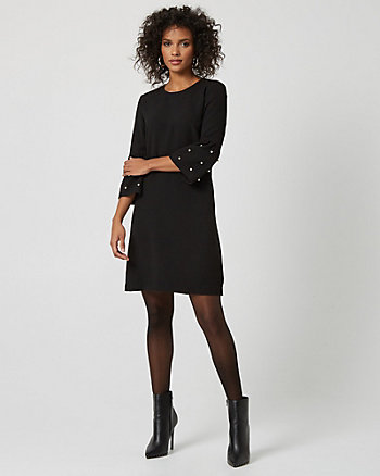 Knit Crêpe Embellished Flutter Sleeve Dress
