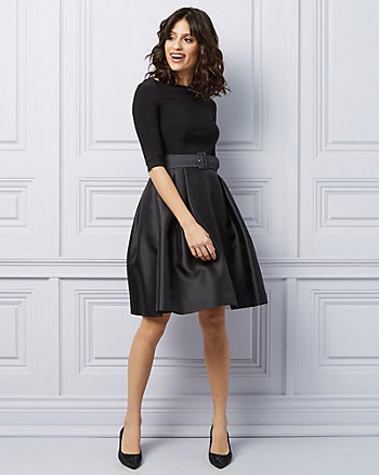 Boat Neck Fit & Flare Belted Cocktail Dress