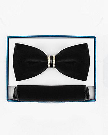 Velvet Bow Tie & Pocket Square Set