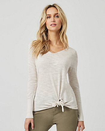 Cotton Blend Front Tie Sweater