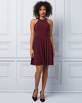 Knit Halter Neck Fit & Flare Cocktail Dress