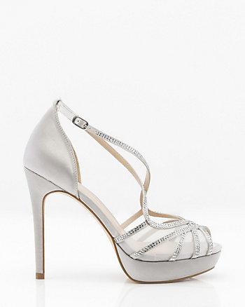 Jewel Embellished Satin & Mesh Platform Sandal