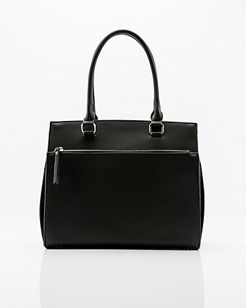 Pebbled Leather-Like Satchel