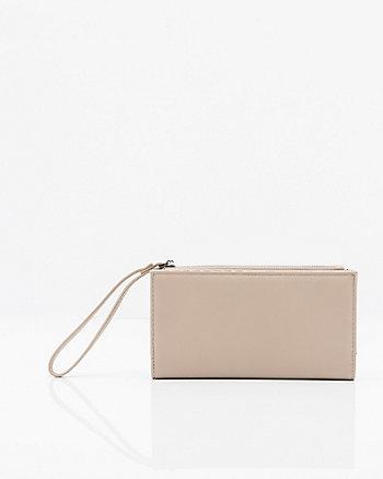 Pebbled Faux Leather Wristlet Wallet