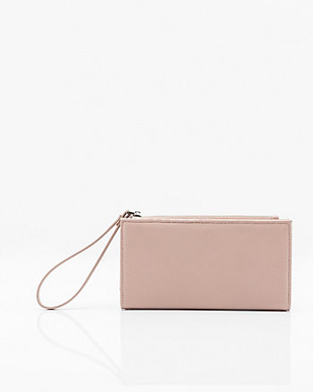 Pebbled Leather-Like Wristlet Wallet