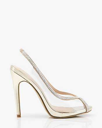 Glitter Peep Toe Transparent Pump