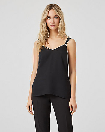 Crêpe de Chine Sleeveless V-Neck Blouse