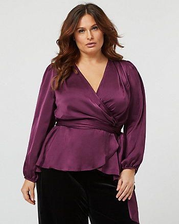 Satin V-Neck Wrap Blouse