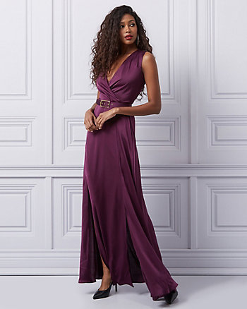 Matte Satin Wrap-like Gown